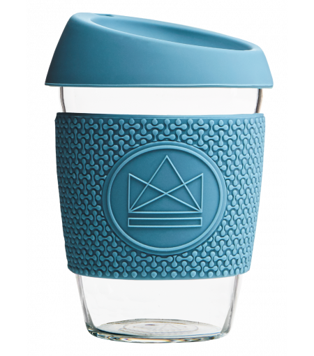 Blue Reusable Glass Coffee Cup