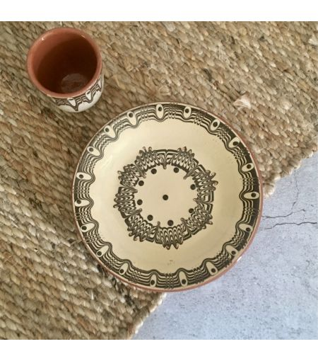 ceramic plate, bulgarian pottery, beige unique plate, artisanal, home decor,  sustainable produced, cute side plates