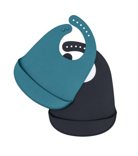 Silicone Bib Duo in Blue & Charcoal