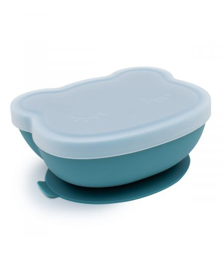 Silicone Suction Bowl in Blue Dusk