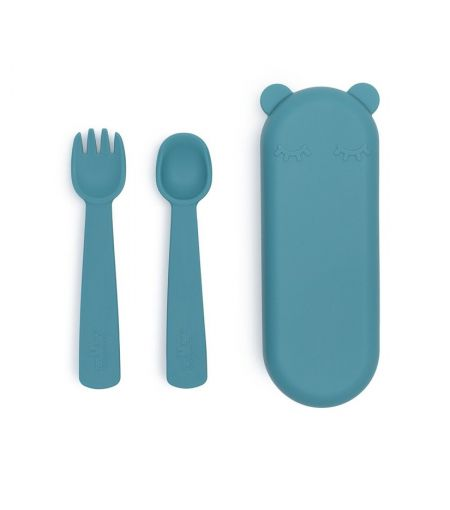 Silicone Fork & Spoon in Blue Dusk