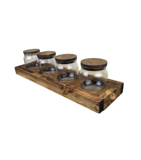Rustic Tray with 4 Jars