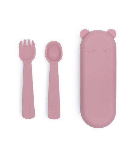 Silicone Fork & Spoon in Dusky Pink