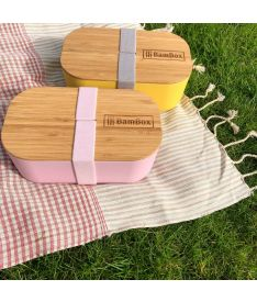 Bamboo Lunch Box, Pink (Microwaveable)