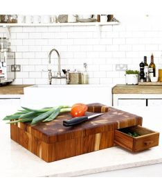 """End Grain Carving Board with Drawer """"Donald"""""""
