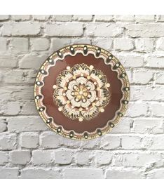 Small Brown & White Troyan Ceramic Plate