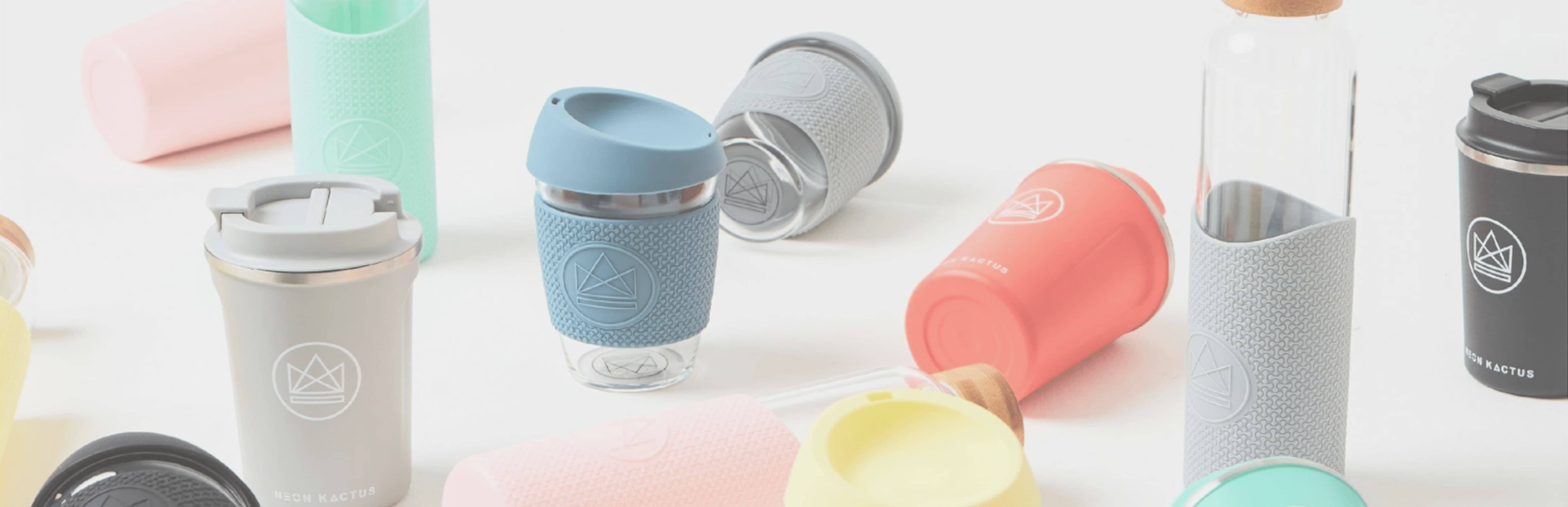 Eco-friendly stylish reusable glass coffee and tea cups and water bottles